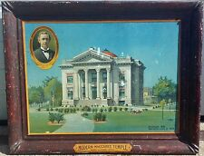 1906 adv SIGN metaL PORT HURON Michigan MODERN MACCABEE TEMPLE Nathan S. Boynton