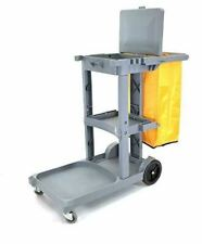 Commercial Cleaning Janitorial Cart 3 Shelf With 25 Gallon Vinyl Bag