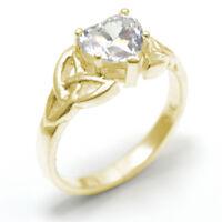 Celtic Trinity Knot Engagement Ring 1ct Diamond Heart 9ct Gold UK Hallmarked