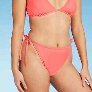 Juniors' High Leg Mid Waist String Bikini Bottom Xhilaration NEON Pink Medium