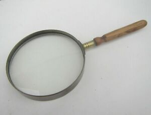 Vintage Magnifying Glass with a Brass & Wooden Handle
