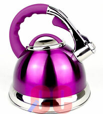 RETRO Whistling Stainless Steel Kettle 3.5Ltr  large purple mauve GAS HOB STOVE
