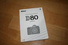 Nikon D80 DSLR original Handbuch Bedienungsanleitung Gebrauchsanleitung Manual