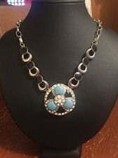 NEW - Ladies Silver Plated Necklace Black Turquoise With Rhinestone
