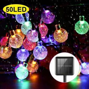 100 LED Solar Kugel Lichterkette Garten Außen Beleuchtung Lampe Party Licht