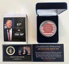 President Donald Trump...2020 ....Liberty...MAGA...Flag  Coin.. in a Case