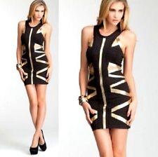 NWT bebe Dress black gold bandage bodycon top cutout back cutout club XS 0 2