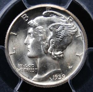1939 D MERCURY DIME PCGS MS 66 SATINY SMOOTH ALL WHITE WELL STRUCK SUPERB GEM