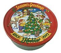 "1993 Keebler Elves Holiday Cookie Tin - 10"" x 4"" - Christmas - Seasons Greetings"