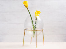 A Simple Mess Vase Ronda Glass Engraved Flower Vase round Gold Stand 21cm Big