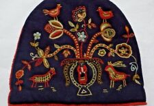 Dated 1901 SWEDISH or DANISH FIGURAL WOOL on WOOL Embroidery TEA COZY , Lined