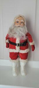 "1950s Vintage Christmas Rubber Face Santa Claus Plush Stuffed Doll 12"""