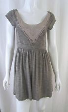 ANTHROPOLOGIE PINS & NEEDLES Boho Grey Crochet Lace Fit Flare Skater Dress Small