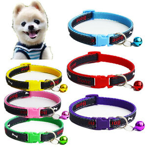 Extra Small Dog Collar Pet Cat Necklace W/Bell Gift for Teacup Chihuahua yorkie