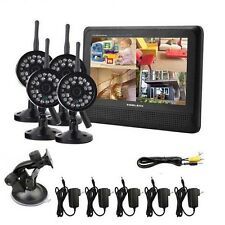 "7"" QURD 4CH 2.4GHz Digital Baby Monitor 4X Wireless Camera Security System DVR"