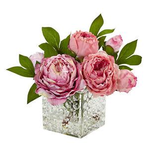 Peony Floral Arrangement in Glass Vase