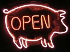 "New Pig Open Bbq Sign Real Glass Bar Beer Neon Light Sign 20""x16"""
