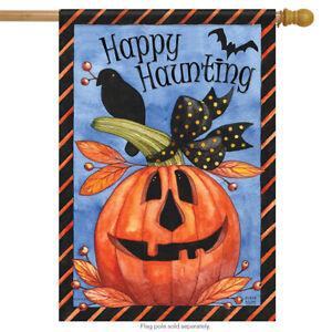 "Jill-O-Lantern Halloween House Flag Crow Haunting Pumpkin Double Sided 28"" x 40"""