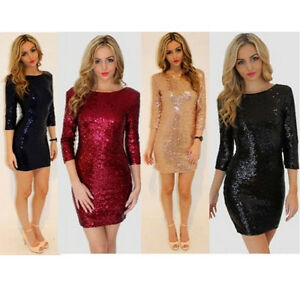 Women's Night Club Sequin Cocktail Party Mini Dress Stretchy Bodycon Bling Skirt