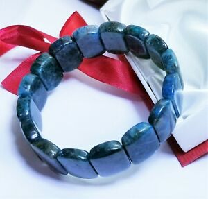 """BLUE APATITE RECTANGLE BEADS STRETCH BRACELET 7.5"""" 17.5-18mm 261cts RARE AAA+++"""