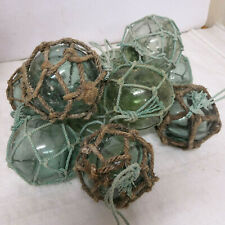 """Vintage Glass Fishing Floats 10 all in synthetic rope nets 4.5""""- 5"""" Japanese"""