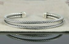 David Yurman 925 Sterling Silver Double Row Classic Cable Bangle Cuff Bracelet