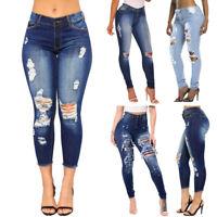 Women High Waist Slim Ripped Jeans Denim Pants Pencil Trousers Jeggings Nice UI