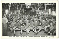 WWI Postcard Night Crowd Army YMCA Building Camp Grant Rockford Illinois Antique