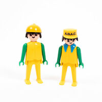2x Playmobil Recovery Truck (ADAC) Figures - Yellow and Green - Vintage