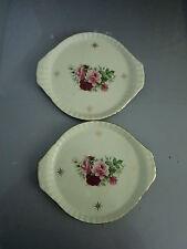 Set Of 2 Formalities Victorian Roses Vanity Trinket Tray Porcelain Handled