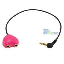 3.5mm right angled Male to 2 Female Splitter Audio Extension Cable Headphone