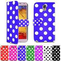 Polka Dot Design PU Leather Wallet Case Cover For Samsung Galaxy Note 3