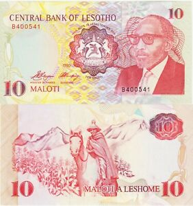"Lesotho 10 Maloti Banknote 1990 Choice Uncirculated Cond,Pic#11-A""Free Shipping"""