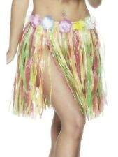 Ladies 46cm Hawaiian Multicolour Luau Party Grass Fancy Dress Costume Hula Skirt