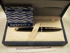 WATERMAN CARENE BLACK LAQ GT FOUNTAIN PEN MEDIUM POINT NEW in BOX +BONUS INK