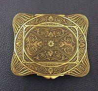 BOÎTE EN LAITON DORÉ XIX À CARTOUCHE  FEUILLAGÉ/ Victorian Brass Golden Box