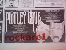 MOTLEY CRUE Theatre of Pain Tour 1985  UK Press ADVERT 8x4""