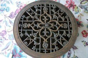 1875 Tuttle & Bailey Cast Iron Round Heat Vent Grate Floor Register Fancy Flower