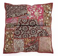 "16"" Cushion Pillow Cover Handmade Patchwork Embroidered Throw Indian Decor Sham"