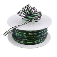 "3mm 3/8"" Organza Pull bow ribbon Black iridescent 50 yd"
