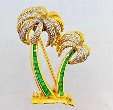Vintage 18k Yellow Gold Colombian Emerald & Diamond Palm Tree Brooch