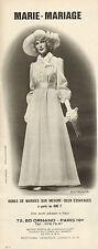 Publicité Advertising 1972  MARIE MARIAGE robe de mariées sur mesure