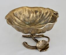 """Vintage Heavy Cast Brass 8"""" Lily Pad Bowl on Stand w/Frog Art Nouveau"""
