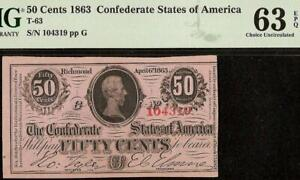 1863 CONFEDERATE STATES 50 CENT NOTE CIVIL WAR FRACTIONAL CURRENCY T-63 PMG 63