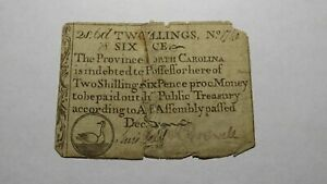 1711 Two Shillings Six Pence North Carolina NC Colonial Currency Note Bill 2s6d