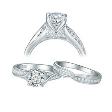 Round Aaa Cz Sterling Silver Sz 5 Vintage Wedding Engagement Ring Set For Women