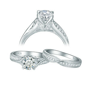 Vintage Wedding Engagement Ring Set For Women Round AAA Cz Sterling Silver Sz 9