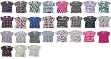 Sherly Womens Fashion Medical Nursing Scrub Tops Printed Plus Size 1X-3Xl