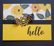 Stampin' Up Honey Bee Hello card kit 4 cards w/envelopes yellow