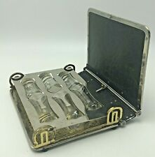 Antique Travel Book Bar Cordial Set Liquor Cocktail Shot Glasses Art Deco Walrus